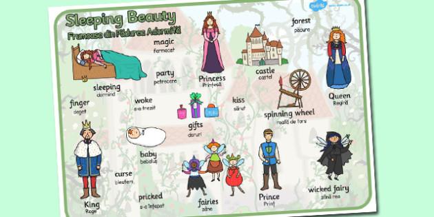 Sleeping Beauty Word Mat Romanian Translation - romanian, word
