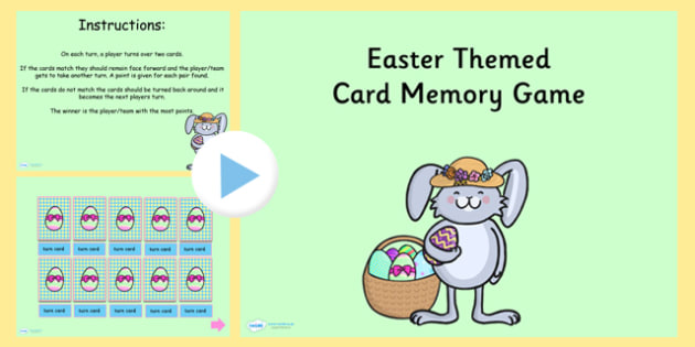 Easter Themed Card Matching PowerPoint Game - easter, match, game