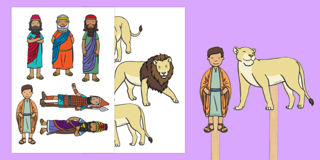 Daniel and the Lion's Den Stick Puppets - usa, america, Daniel and the Lions, Daniel, Lions, lion pit, story, story book, story sequencing, story resources, stick puppet, Babylon, King Darius, governors, God, pray, den, bible story, bible