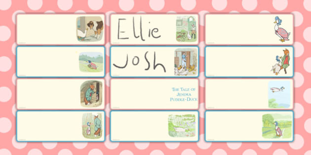 The Tale of Jemima Puddle-Duck Editable Drawer Peg Name Labels
