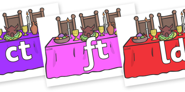 Final Letter Blends on Dining Tables - Final Letters, final letter, letter blend, letter blends, consonant, consonants, digraph, trigraph, literacy, alphabet, letters, foundation stage literacy