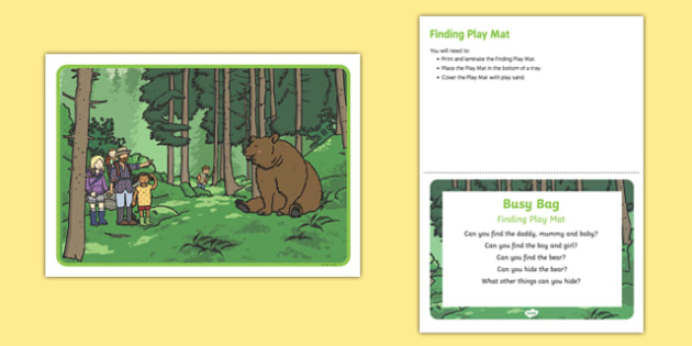 Finding Play Mat Busy Bag Prompt Card and Resource Pack