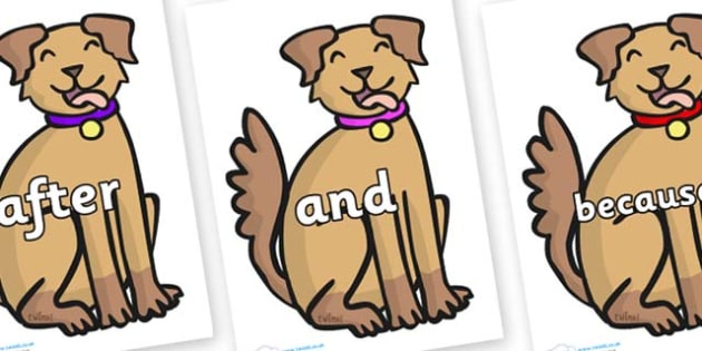 Connectives on Dog - Connectives, VCOP, connective resources, connectives display words, connective displays