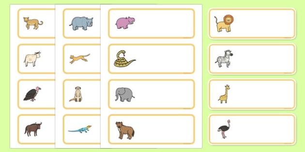 Editable Drawer - Peg - Name Labels (African Animals) - Africa,  peg name, label, animals, lion, cheetah, puma, jaguar, rhino, hippo, elephant, giraffe, antelope