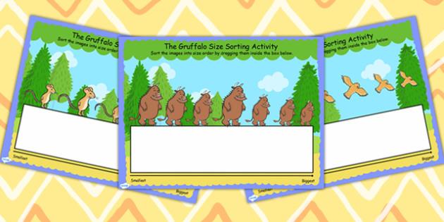 The Gruffalo Size Ordering Activity for IWB - gruffalo, ordering