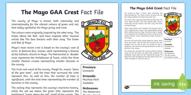 History of Mayo GAA Crest Fact Sheet