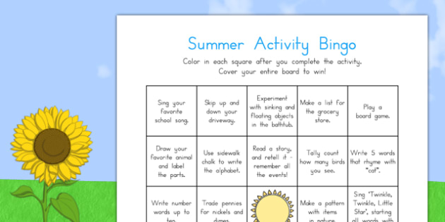 Summer Break Activity Bingo - usa, america, summer break, activity, bingo, game