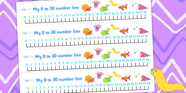 Number Lines 0-30 to Support Teaching on Sharing a Shell - count, counting, counting aid