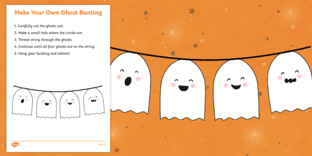 Halloween Make Your Own Ghost Bunting Activity