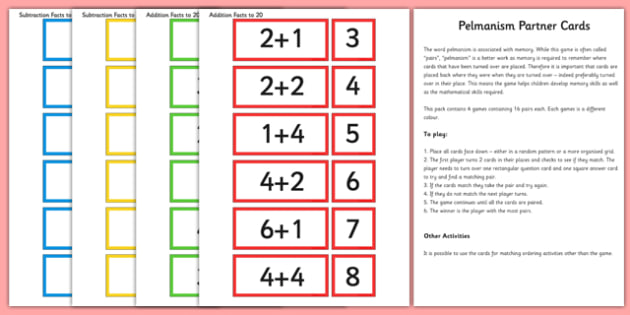 Addition and Subtraction Facts to 20 Partner Cards Game Pack - add, subtract, partner, cards, game, pack
