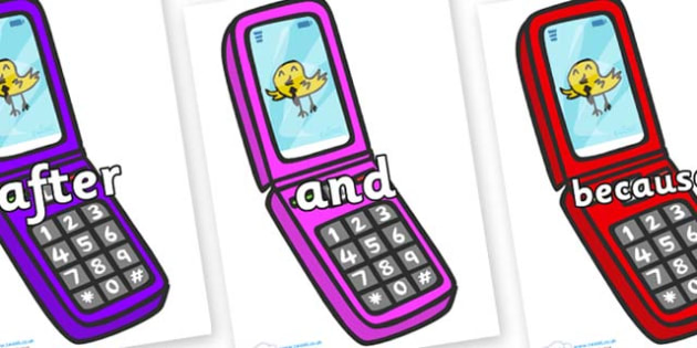 Connectives on Mobile Phone - Connectives, VCOP, connective resources, connectives display words, connective displays