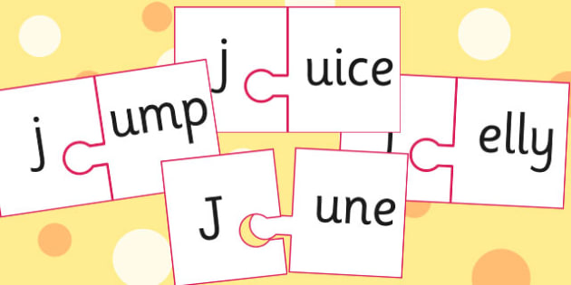 j And Vowel Production Jigsaw Cut Outs - j, vowel, jigsaw, sounds