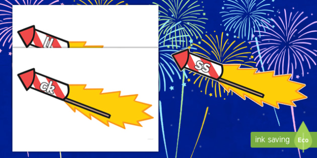 Phase 2 Phonemes on Firework Rockets Cut-Outs