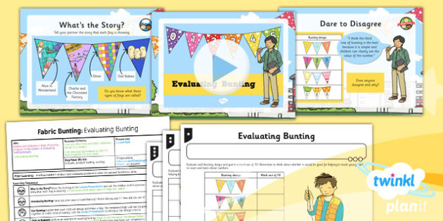 D&T: Fabric Bunting: Evaluating Bunting KS1 Lesson Pack 1