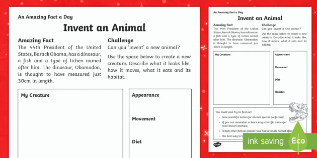 Invent an Animal Activity Sheet - Amazing Fact Of The Day, activity sheets, powerpoint, starter, morning activity, December, animal ap