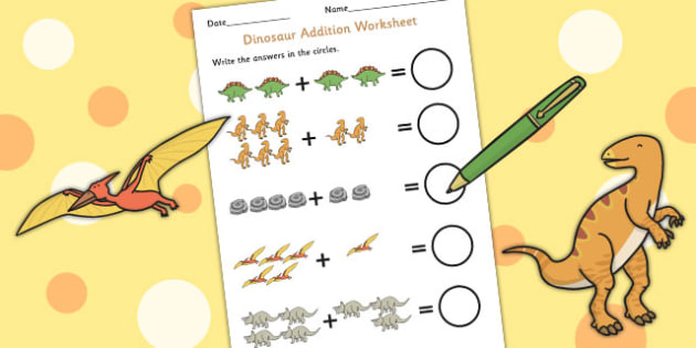Dinosaur Themed Addition Sheet - add, adding, numeracy, maths