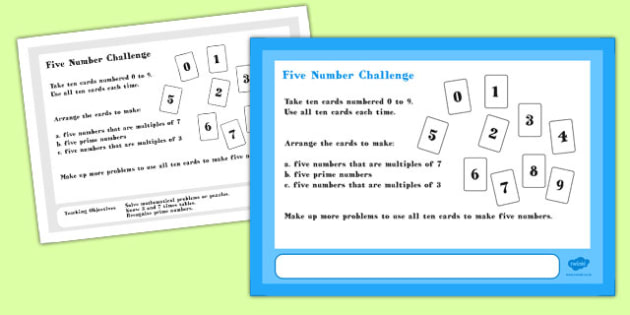 Five Number Maths Challenge A4 Display Posters - challenge, maths