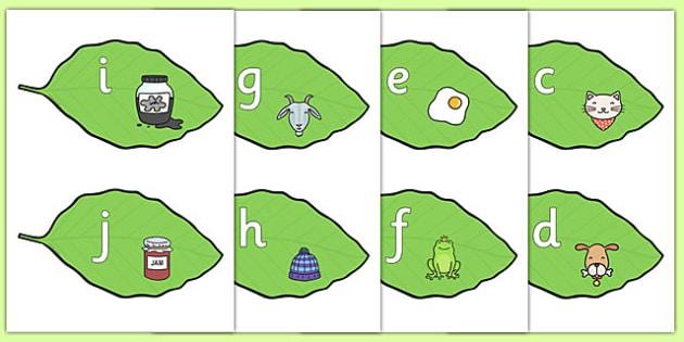 Alphabet on Leaves - alphabet, leaves, display, letters, leaf