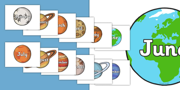 Months of the Year on The Planets - Space, Weeks poster, Months display, display, poster, frieze, Days of the week, moon, sun, earth, mars, neptune, pluto, uranus, jupiter, saturn