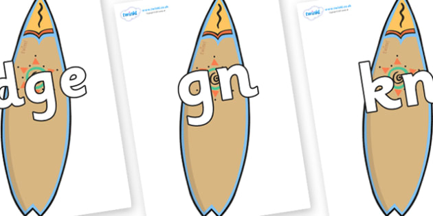 Silent Letters on Surf Boards - Silent Letters, silent letter, letter blend, consonant, consonants, digraph, trigraph, A-Z letters, literacy, alphabet, letters, alternative sounds