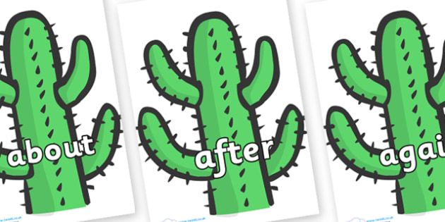 KS1 Keywords on Cactus - KS1, CLL, Communication language and literacy, Display, Key words, high frequency words, foundation stage literacy, DfES Letters and Sounds, Letters and Sounds, spelling