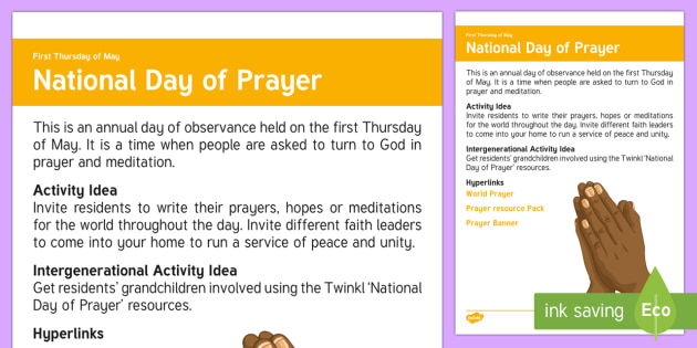 National Day of Prayer Adult Guidance - Calendar Planning May 2017, Activity Co-ordinator, Support, Ideas, Elderly Care, Care Homes, Nationa