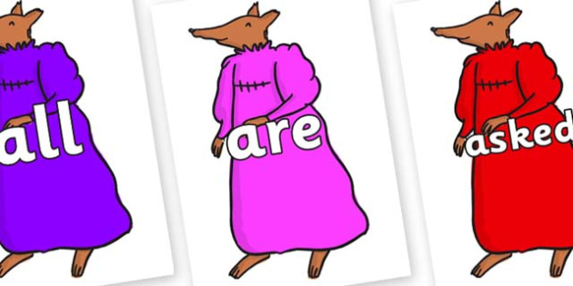 Tricky Words on Mrs Fox to Support Teaching on Fantastic Mr Fox - Tricky words, DfES Letters and Sounds, Letters and sounds, display, words