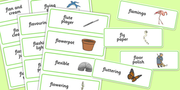Three Syllable FL Word Cards - sen, sound, special educational needs, fl, word cards
