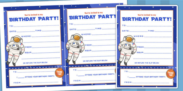 Space Themed Birthday Party Invitations - parties, birthdays