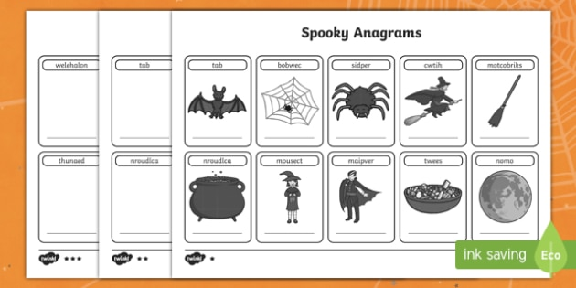 Halloween Anagrams Activity Sheet Pack, worksheet