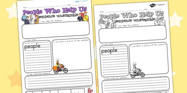 People Who Help Us Unscramble Worksheets - sentences, word games