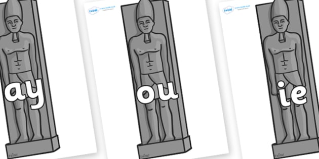 Phase 5 Phonemes on Egyptain Statues - Phonemes, phoneme, Phase 5, Phase five, Foundation, Literacy, Letters and Sounds, DfES, display