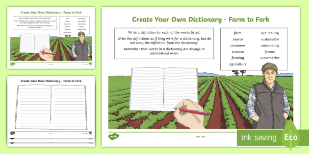 Farm to Fork Key Vocabulary Create Your Own Dictionary - Vocabulary Development, reading for information, farm, farm to fork, definitions, dictionary skills,