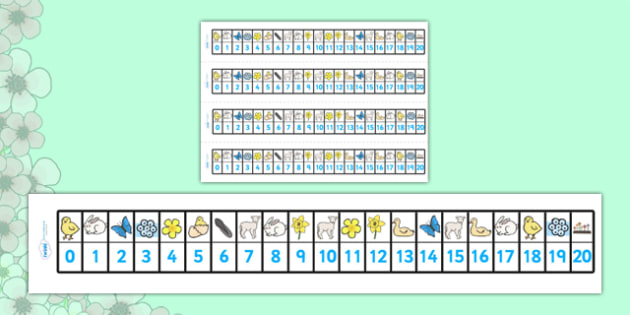 Spring Number Track (1-20) - Maths, Math, number track, toys, numbertrack, Counting, Numberline, Number line, Counting on, Counting back, lambs, daffodils, new life, flowers, buds, plants, growth