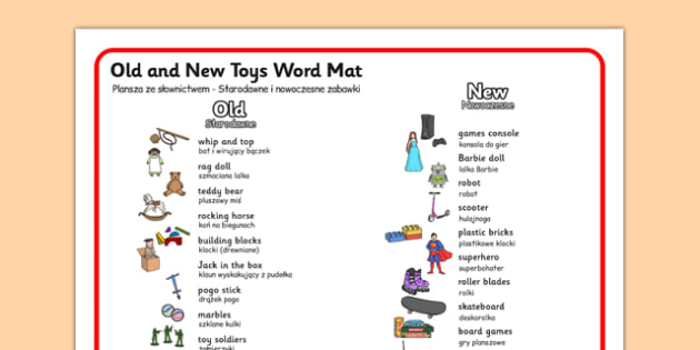 Old and New Toys Word Mat Polish Translation - polish, old, new, toys, word mat, word, mat