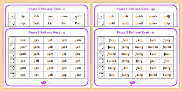 Phase 3 Letter Progression Set 7 y z zz qu Phoneme Roll Read Mat