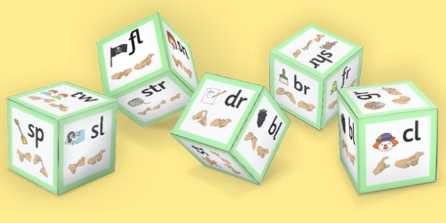 Phase 4 Initial Blends Dice Net with Images and British Sign Language