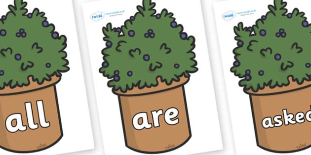 Tricky Words on Plants - Tricky words, DfES Letters and Sounds, Letters and sounds, display, words