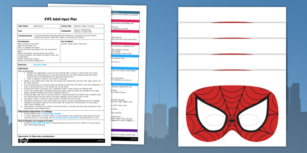 Superhero Super Listening EYFS Adult Input Plan - superhero