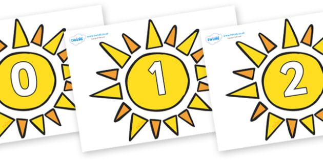 Numbers 0-31 on Sun - 0-31, foundation stage numeracy, Number recognition, Number flashcards, counting, number frieze, Display numbers, number posters