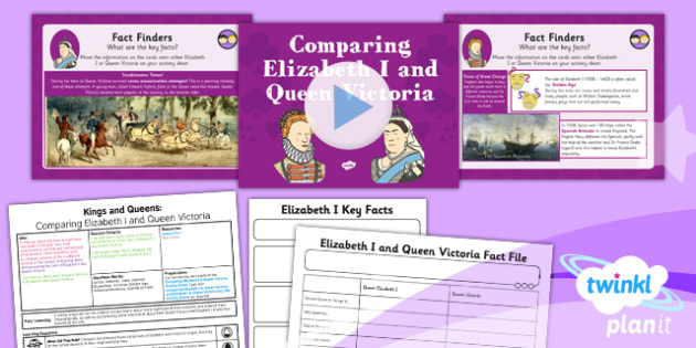 History: Kings and Queens: Comparing Elizabeth I and Queen Victoria KS1 Lesson Pack 6