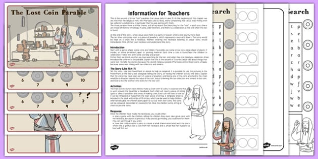 Lost Coin Sunday School Resource Pack - sunday school, bible stories, parable, religious education, RE