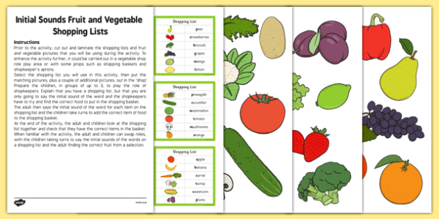 Initial Sounds Fruit and Vegetable Shopping Lists Activity Pack