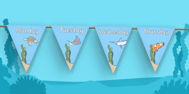 Under the Sea Themed Days of the Week Bunting - under the sea, days of the week, days of the week on bunting, under the sea themed bunting