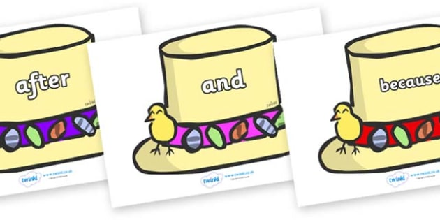 Connectives on Easter Bonnets - Connectives, VCOP, connective resources, connectives display words, connective displays