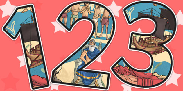 Theseus and the Minotaur Themed A4 Display Numbers - storybooks