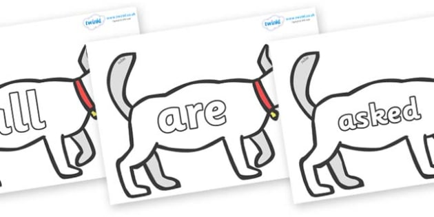 Tricky Words on White Dog to Support Teaching on Brown Bear, Brown Bear - Tricky words, DfES Letters and Sounds, Letters and sounds, display, words