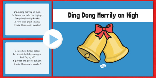 Ding Dong Merrily on High Christmas Carol Lyrics PowerPoint - ding dong merrily on high, christmas carol