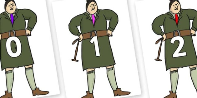 Numbers 0-31 on Mrs Trunchbull to Support Teaching on Matilda - 0-31, foundation stage numeracy, Number recognition, Number flashcards, counting, number frieze, Display numbers, number posters