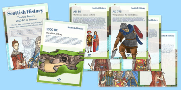 Scottish History Timeline Display Fact Cards Text - cfe, curriculum for excellence, history, timeline